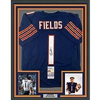 $599 » Framed Autographed/Signed Justin Fields 33x42 Chicago Blue Football Jersey JSA COA