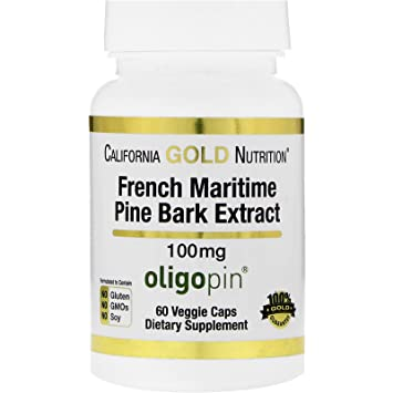 California Gold Nutrition French Maritime Pine Bark Extract Oligopin Antioxidant Polyphenol 100 mg 60 Veggie Caps