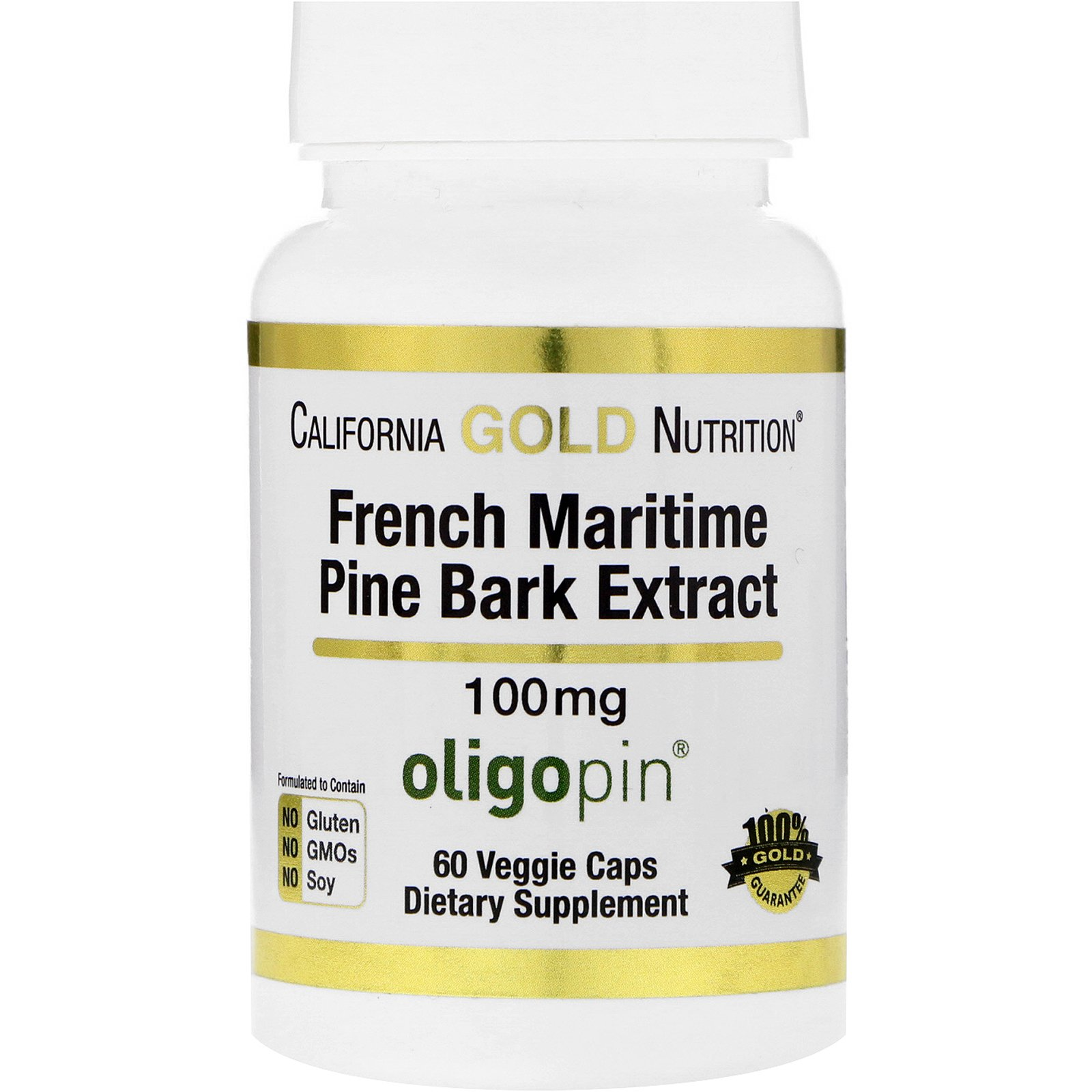 California Gold Nutrition, French Maritime Pine Bark Extract, Oligopin, Antioxidant Polyphenol, 100 mg, 60 Veggie Caps