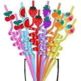 Party Favors for Birthday Party Supplies - Fruits Straws for Bday Party Favors Goody Bags Gift Bags, Reusable Plastic Fruits