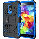 Galaxy S5 Mini Hülle, ykooe (TPU Series) S5 Mini Dual Layer Hybrid Handyhülle Drop Resistance Handys Schutz Hülle mit Ständer für Samsung Galaxy S5 Mini (Blau)