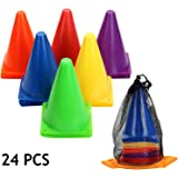 7 Inch Plastic Traffic Cones Sport Training Cone Sets-Indoor/Outdoor and Festive Events Agility Cones Sports Soccer…