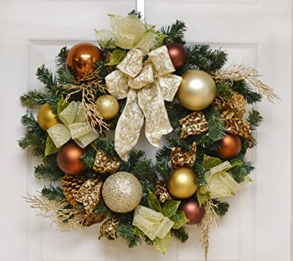 copper and gold christmas wreath with deco mesh ribbon