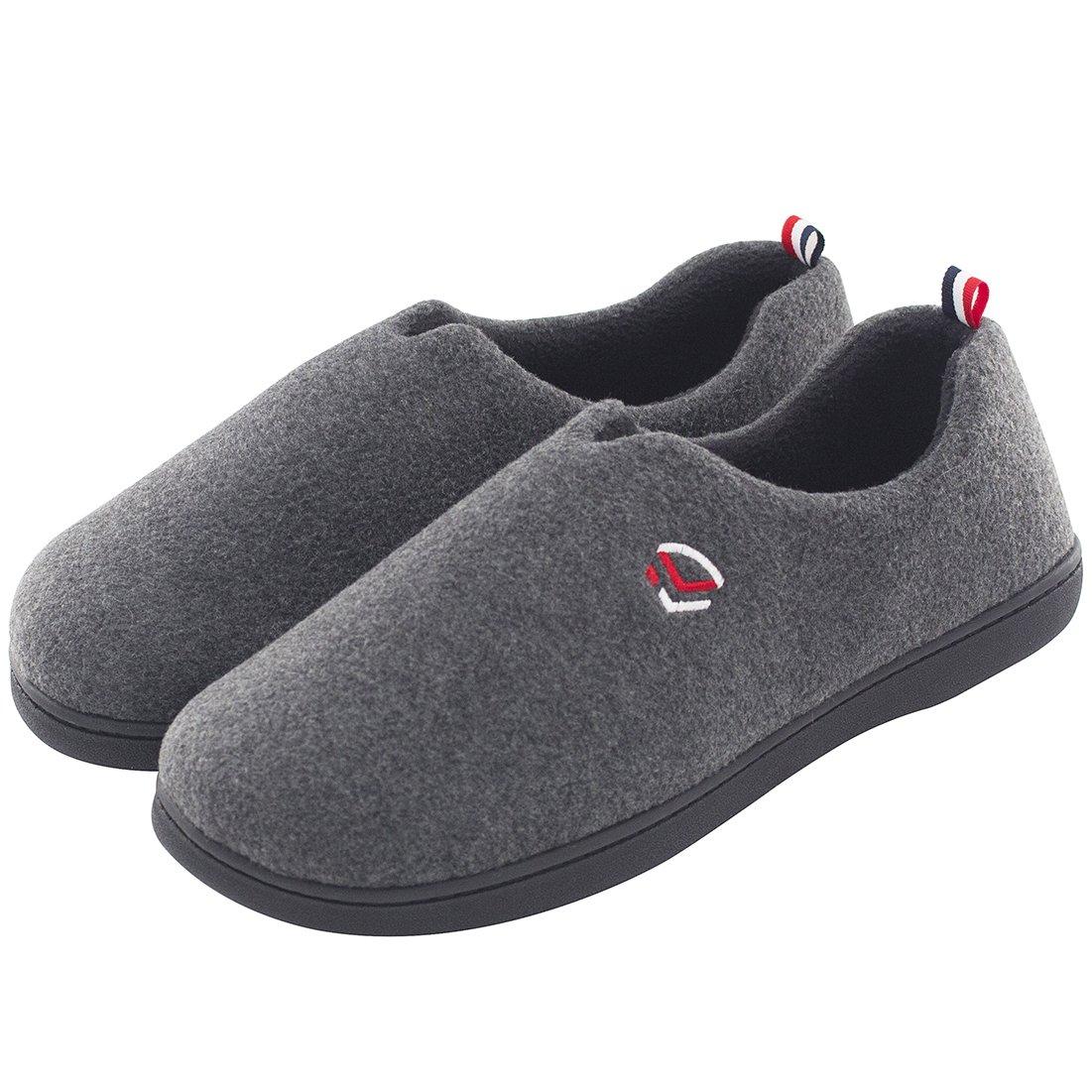 Men's Comfort Polar Fleece Slip on Slippers Color Block Memory Foam House Loafers Shoes w/Indoor, Outdoor Sole