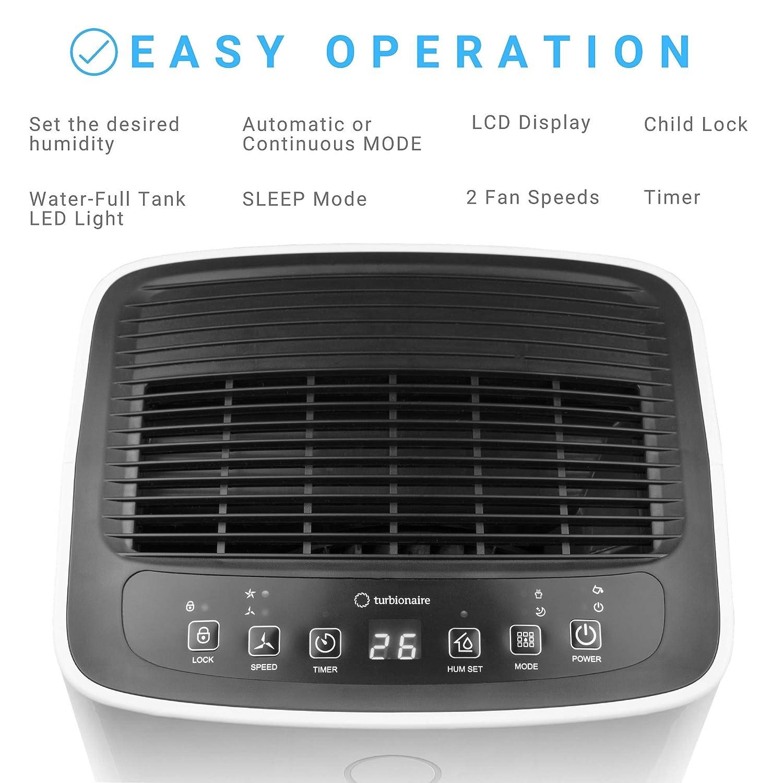 urbionaire Senso 12 Deshumidificador port/átil silencioso solo 36 dB inteligente m/áx 185 W 12L//24h para entornos de hasta 55 mc Filtro antipolvo Higrostato incorporado Indicador LED de humedad
