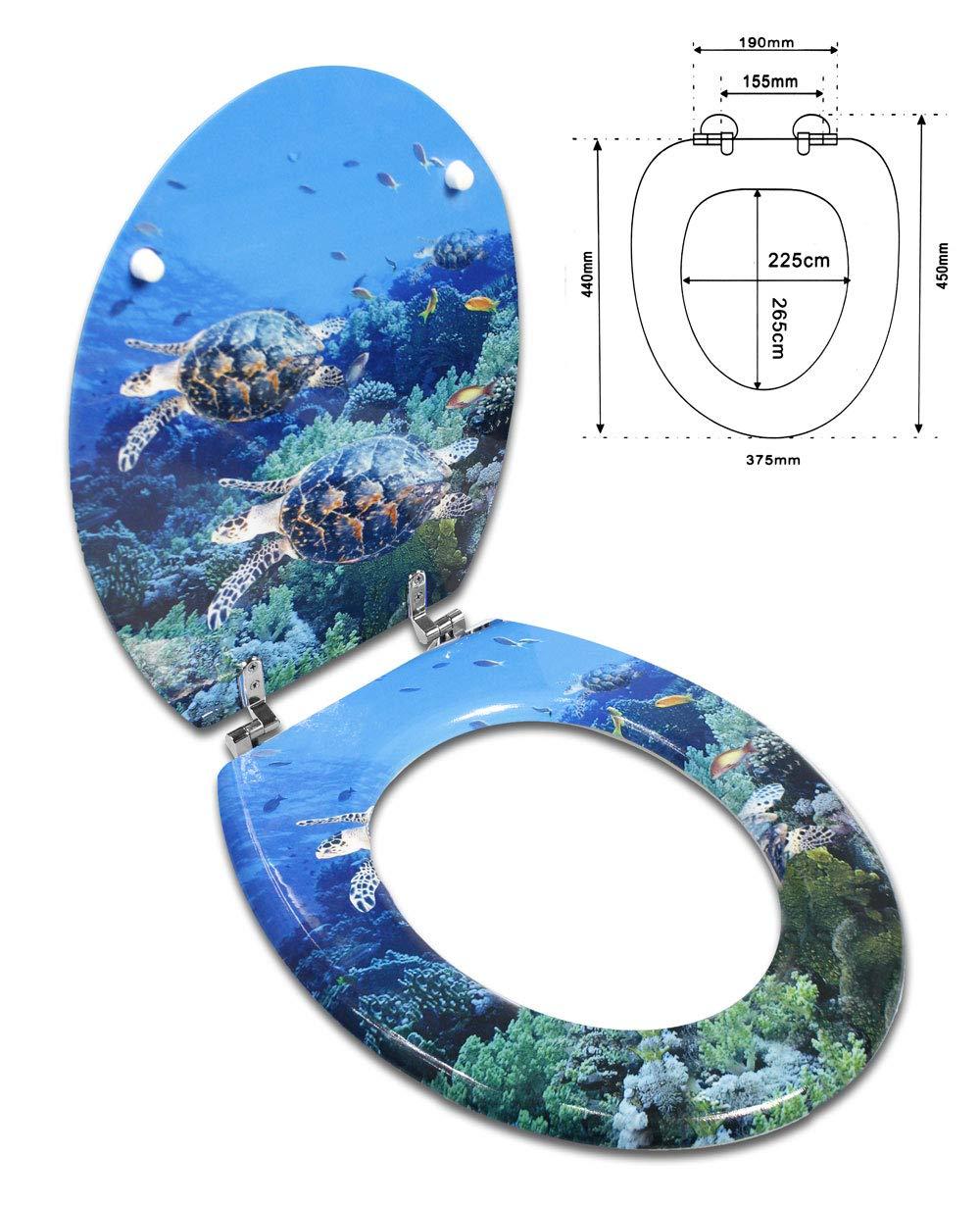 Tartarughe A88 Vetrineinrete/® Copriwater universale in legno MDF serigrafato tavoletta da bagno wc con stampa cerniere in acciaio inox resistente 52981
