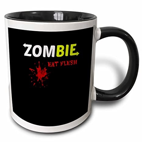 3dRose 178707/_4 Zombie Eat Flesh Two Tone Mug 11 oz Black