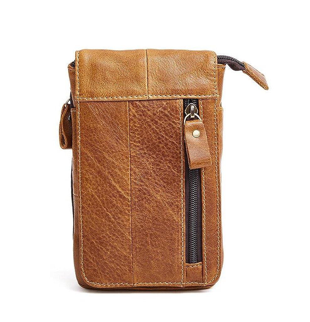 Leather Man Bag Mens Messenger Shoulder Bag Mobile Phone Belt Pouch with Top Handle 12x2x19cm
