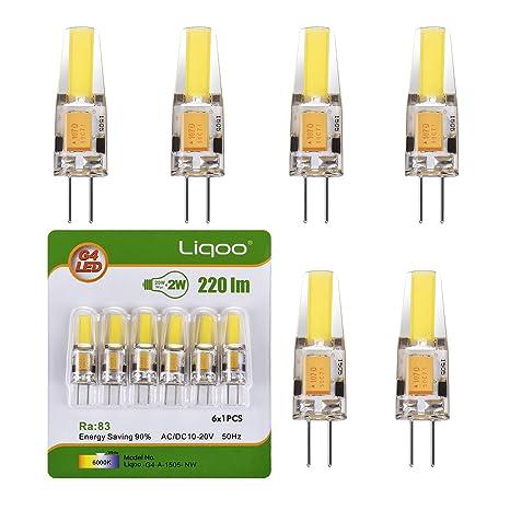 Liqoo® 6x G4 2W Mini Bombilla LED Lámpara COB Bajo Consumo Blanco Frío 6000K Ra