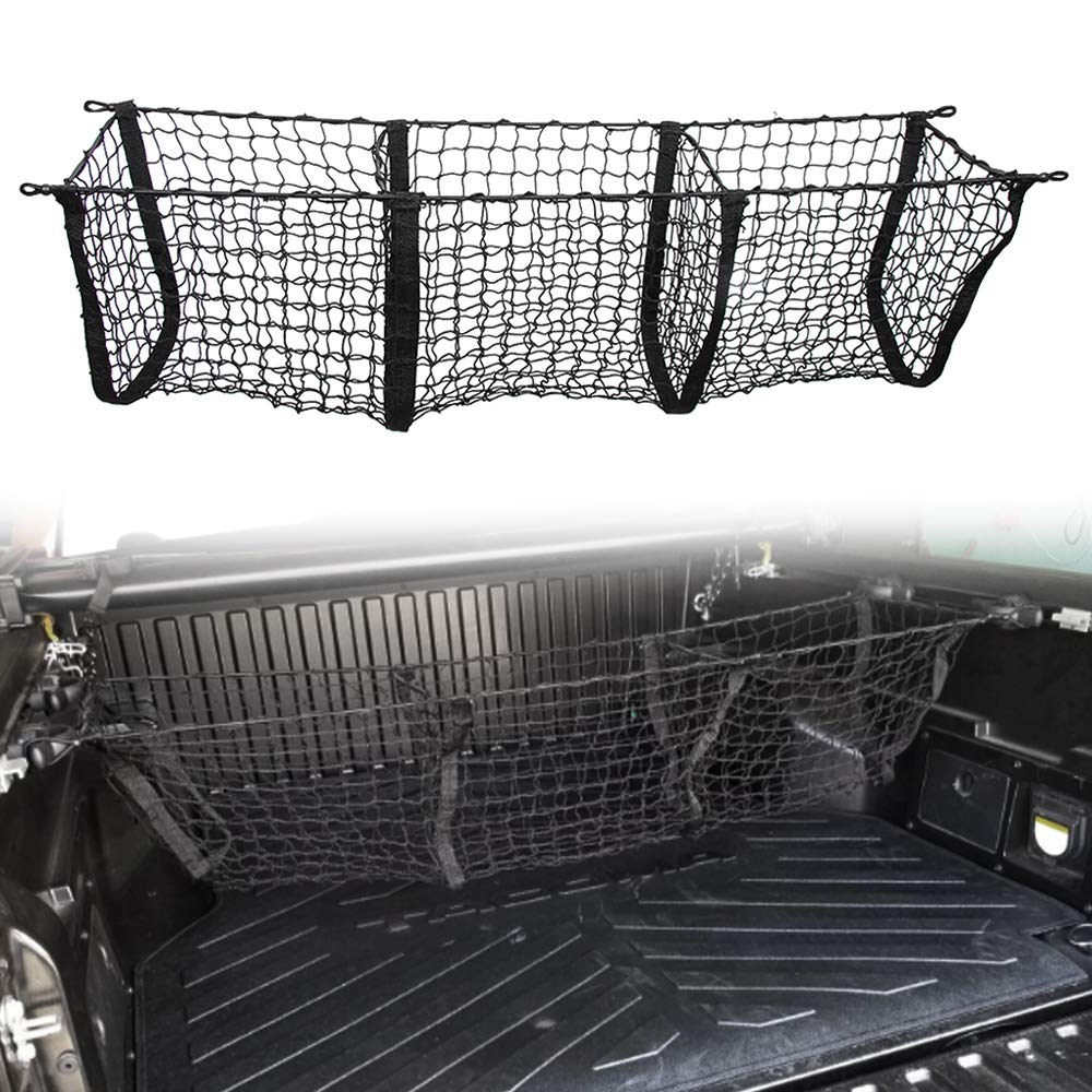 Three Pocket Pickup Truck Cargo Net Fit for Toyota Tacoma 2013-2019 Cargo Organizer Storage Net etopmia