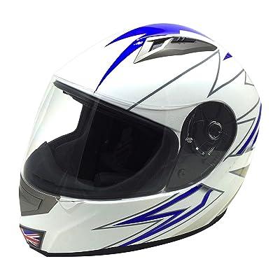 818 H158 Full Face Motorcycle Helmet (Gloss White-UK)