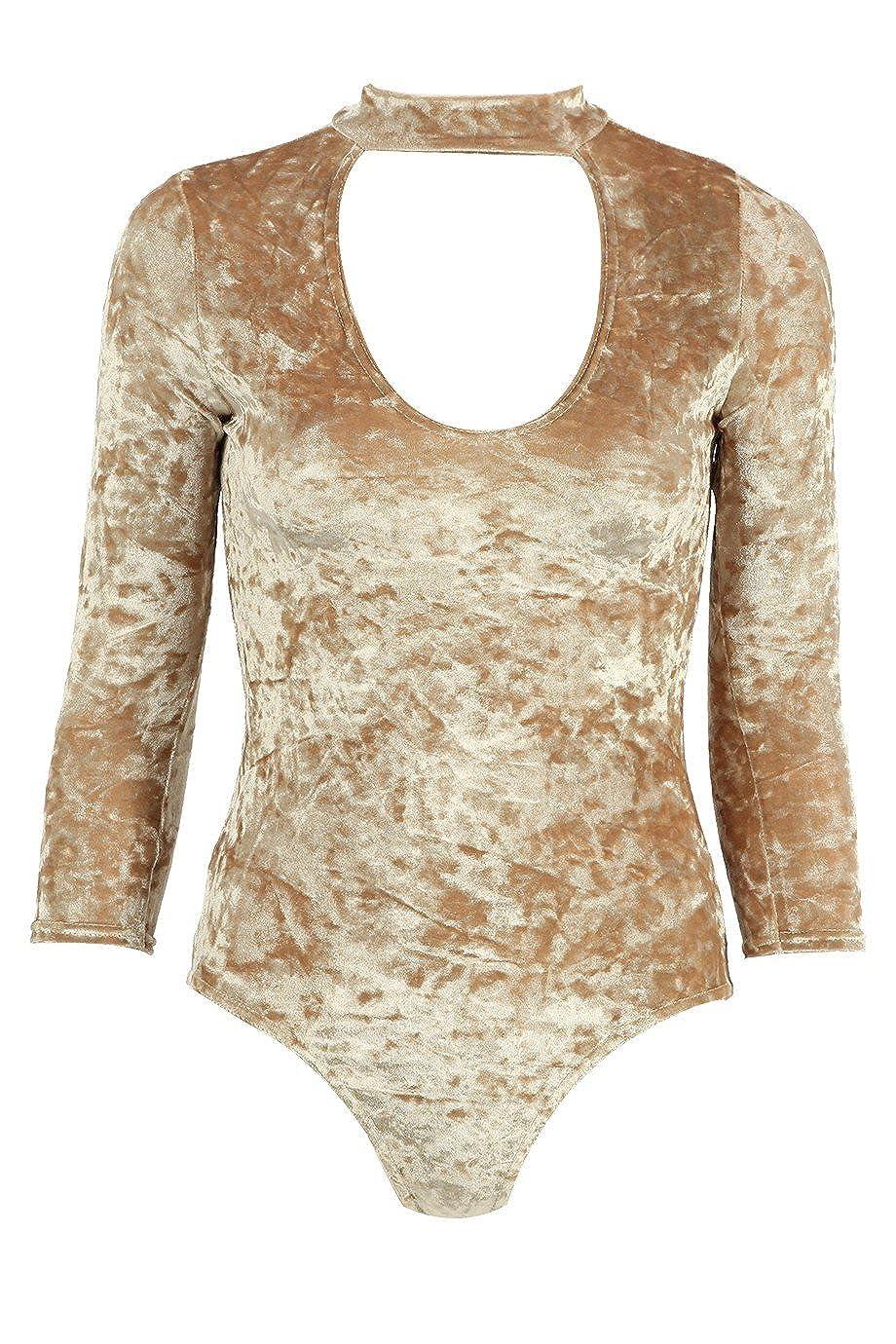 Momo& Ayat Fashions Damen Crushed Velvet Choker Bodysuit EUR Größe 36-42