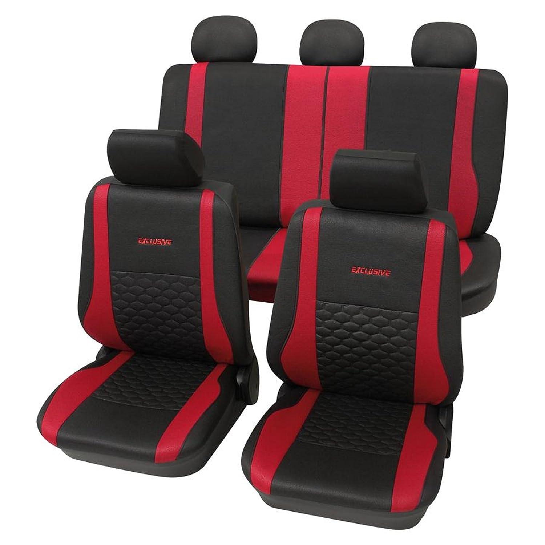 CDExclusiverot001 17-teilig Eco Class rot schwarz Lederlook Sitzbezug Schonbez/üge Schonbezug Autoschonbezug