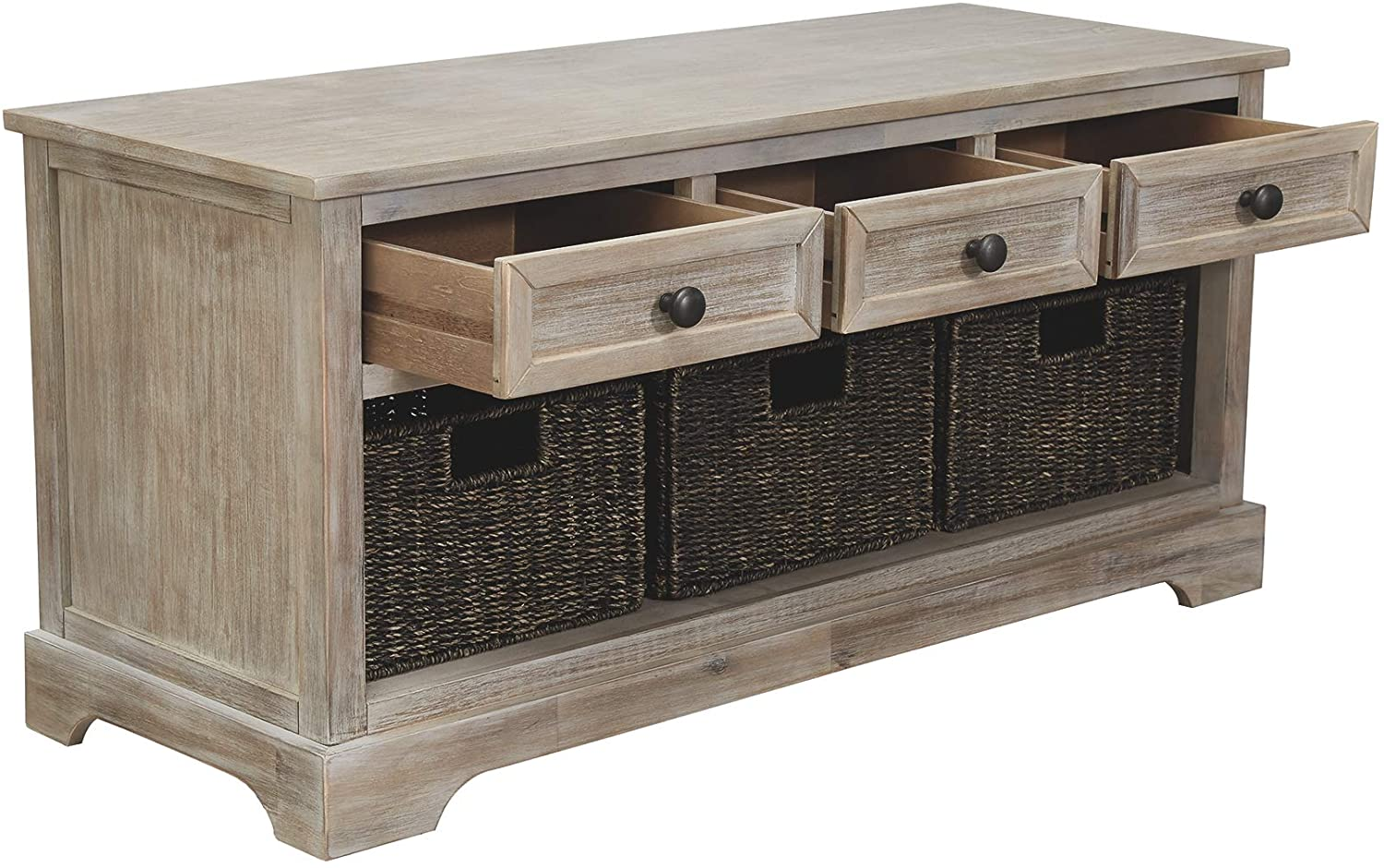 2 Woven Baskets /& 2 Drawers Signature Design by Ashley Light Brown Oslember Storage Bench