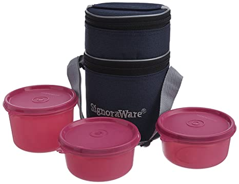 Signoraware Officer's Lunch Box with Bag, 14.5cm, Pink Lunch Boxes
