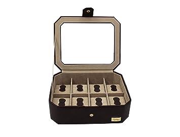 Cordays - Estuche Relojero para 8 Relojes con Vitrina de Cristal Joyero Relojero para Accesorios y Joyas -Hecho a Mano- en Color Marrón CDM-00036: ...