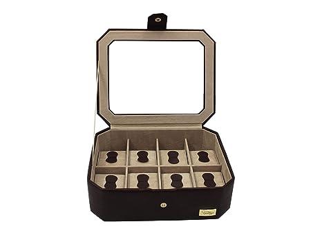 Cordays - Estuche Relojero para 8 Relojes con Vitrina de Cristal Joyero Relojero para Accesorios y Joyas -Hecho a Mano- en Color Marrón CDM-00036