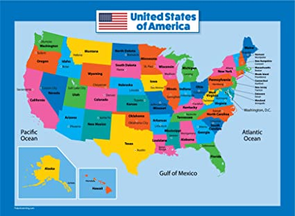 Map Of The United States Amazon.: USA Map for Kids   Laminated   United States Wall