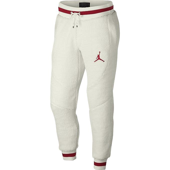 low priced 17f39 96e6e Jordan Air Retro 1 Shearling Fleece Men s Sportswear Pants Sail Gym Red  ah7911-133