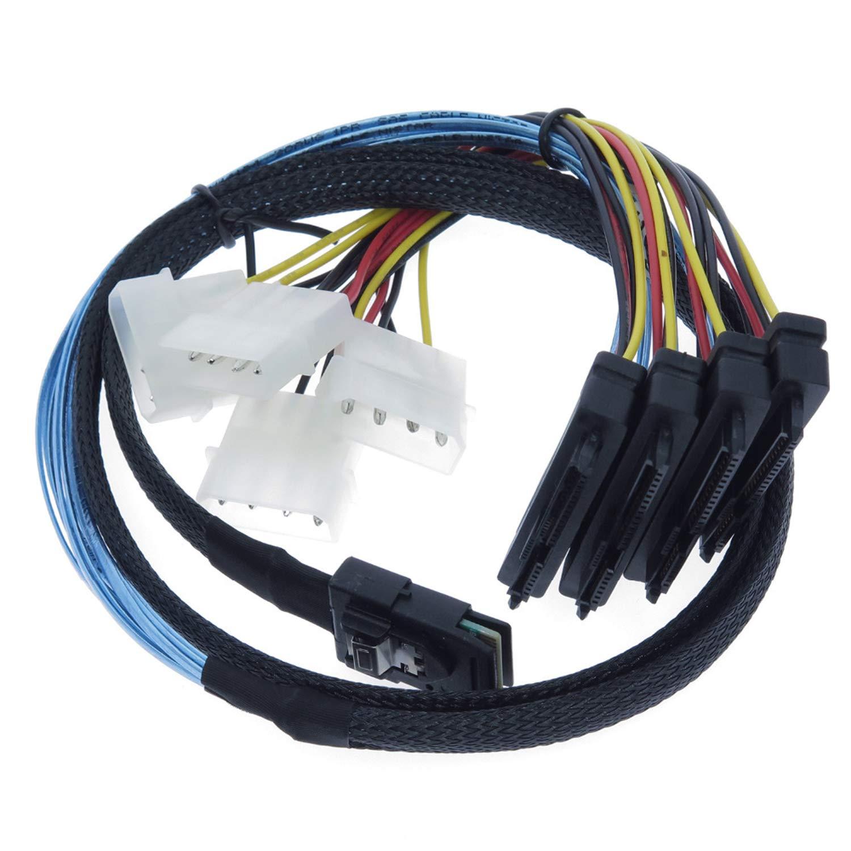 EDIMS Internal Mini SAS 4i SFF-8087 36 Pin to SAS 4X SFF-8482 29Pin Hard Disk SAS Cable with 4X 4Pin Power Cable,3.3FT