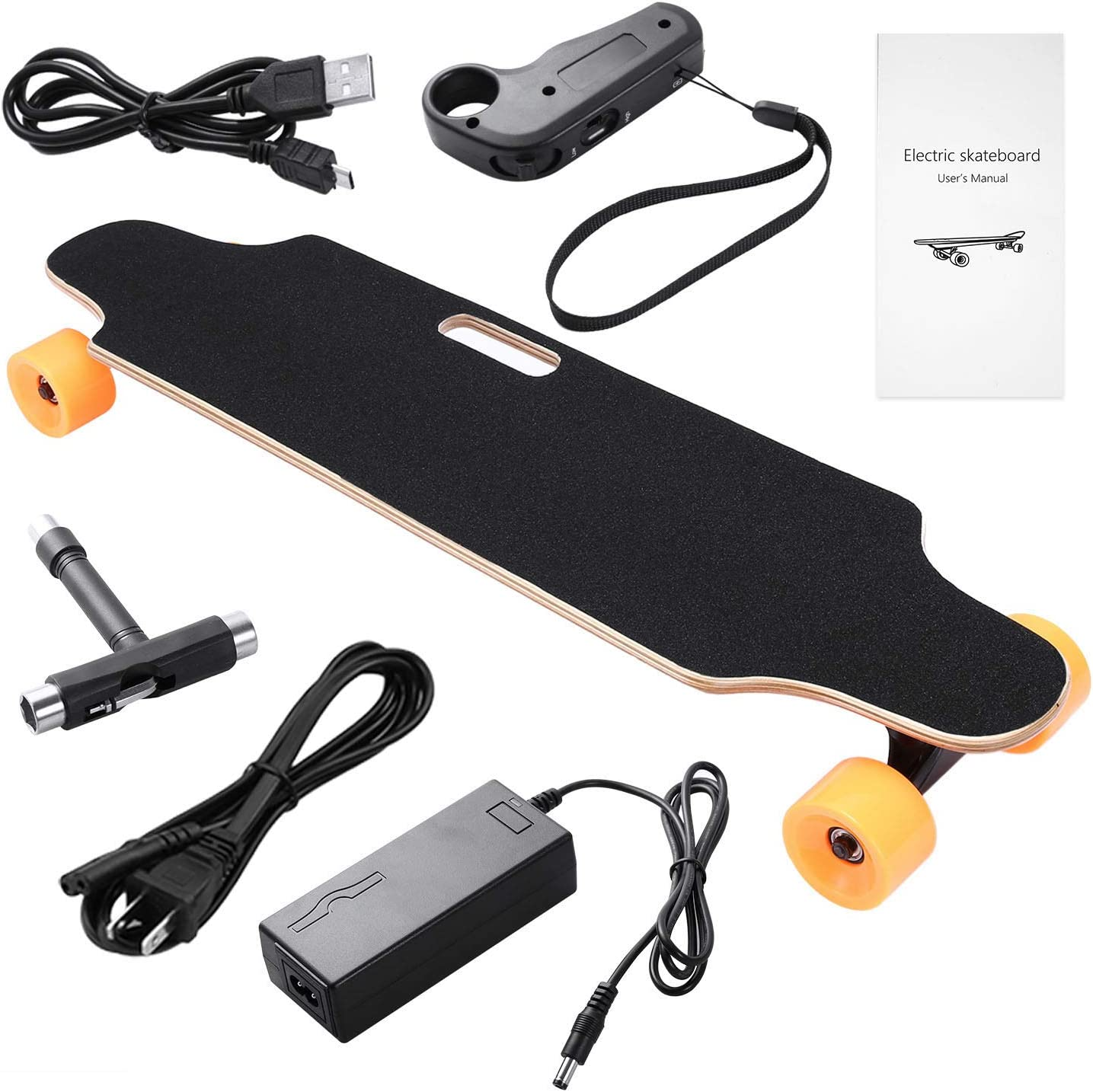 US Stock 7 Layers Maple Longboard 10 Miles Range 20Km//h Top Speed OppsDecor Electric Skateboard with Wireless Remote Control