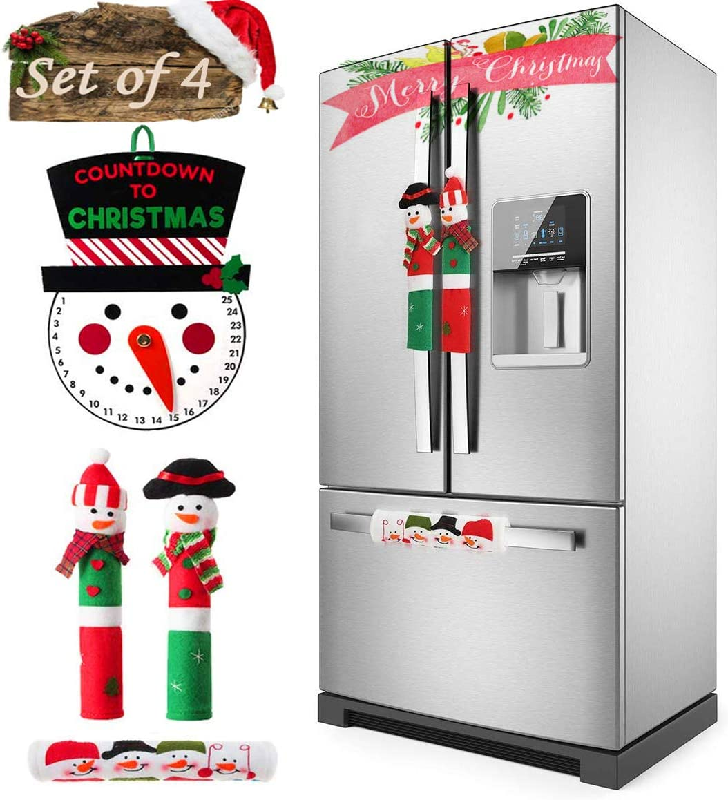 MSDADA Christmas Refrigerator Handle Covers Set of 4, Adorable Snowman Christmas Countdown Calendar, Christmas New Year Holiday Xmas Decorations for Kitchen Appliance Microwave Oven Door