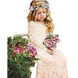 Vestidos de Flores para Bodas Vestido de Encaje de Flores para niñas Vestido de Flor Blanca Vestido de Dama de Honor Bautizo con Lazo Grande