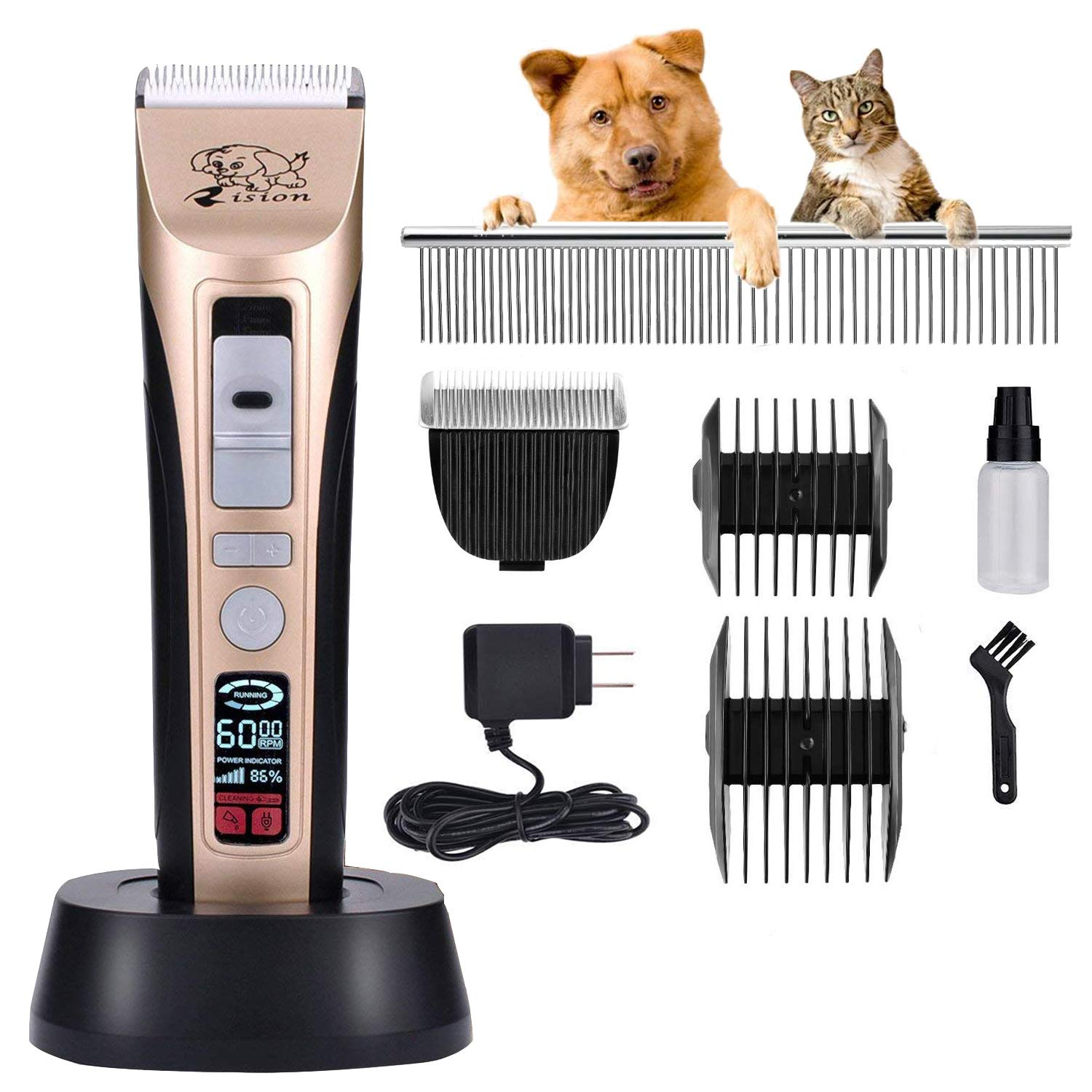 Rision Professional Pet Grooming Clipper Kit Low Noise Rechargeable Cordless Dog Hair Trimming Clippers Set with 5 Adjustable Working Speed for Dogs Cats and Other Animals Gold