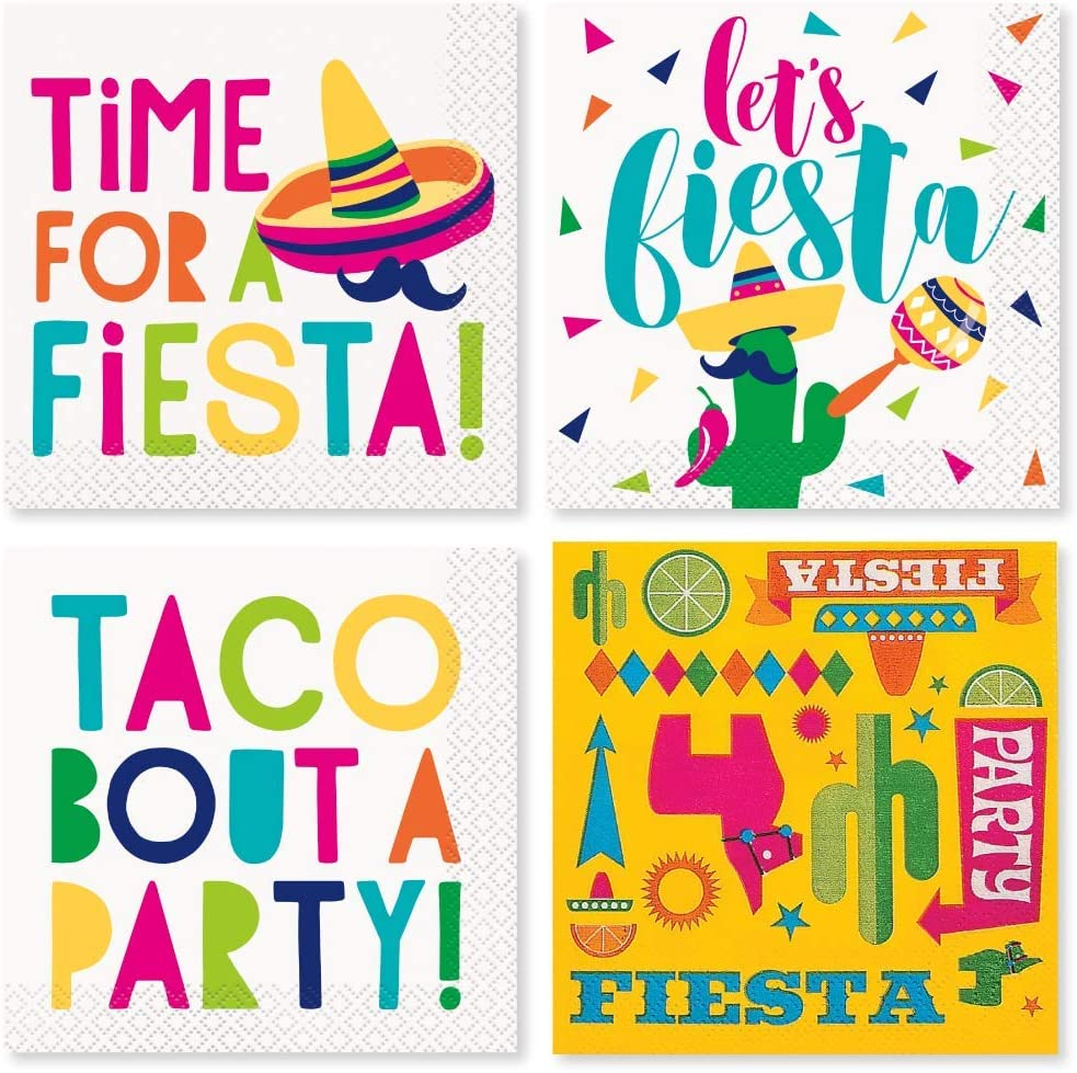 Mexican Fiesta Party Supplies - Cocktail Napkin Variety Pack - 4 Different Styles