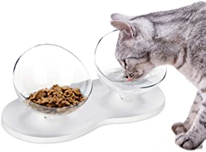 Cat Bowls with Stand, Raised Cat Bowl 0°15°20°Tilted Platform Anti-Slip Double Cat Food Bowl/Cat Water Bowl/Cat Feeding Bowl/Cat Dish Reduce Pets Neck Pain for Cats and Small Dogs