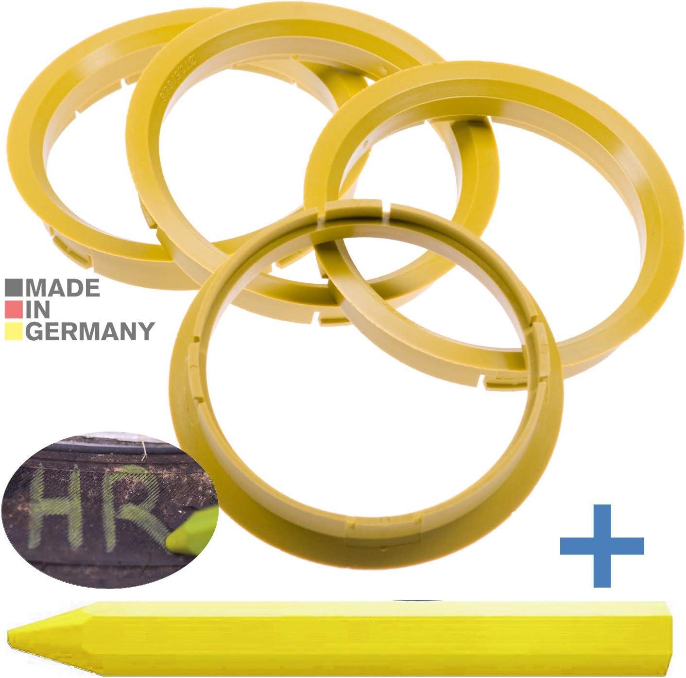 4x Zentrierringe Gelb 72 5 Mm X 66 6 Mm 1x Reifen Kreide Fett Stift Auto