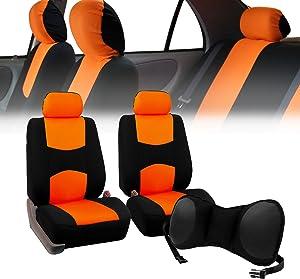 FH-FB050102 Pair Set Flat Cloth Car Seat Covers w. FH1005 Portable Lumbar Seat Cushion, Orange/Black- Fit Most Car, Truck, SUV, or Van