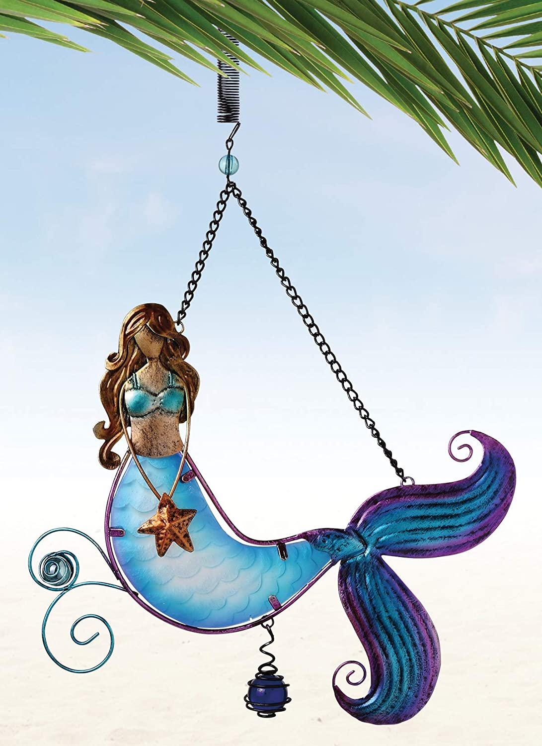 Sunset Vista Designs Metal and Glass Mermaid Bouncy Hanging Decoration