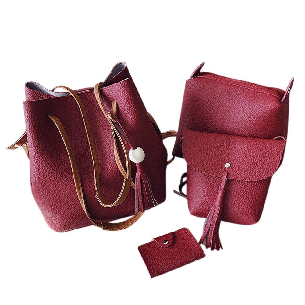 Meiyiu Women Fashion Wooden Bead PU Leather Tassel Shoulder Bag Handbag Tote Purse Messenger Satchel Bag Set 4Pcs