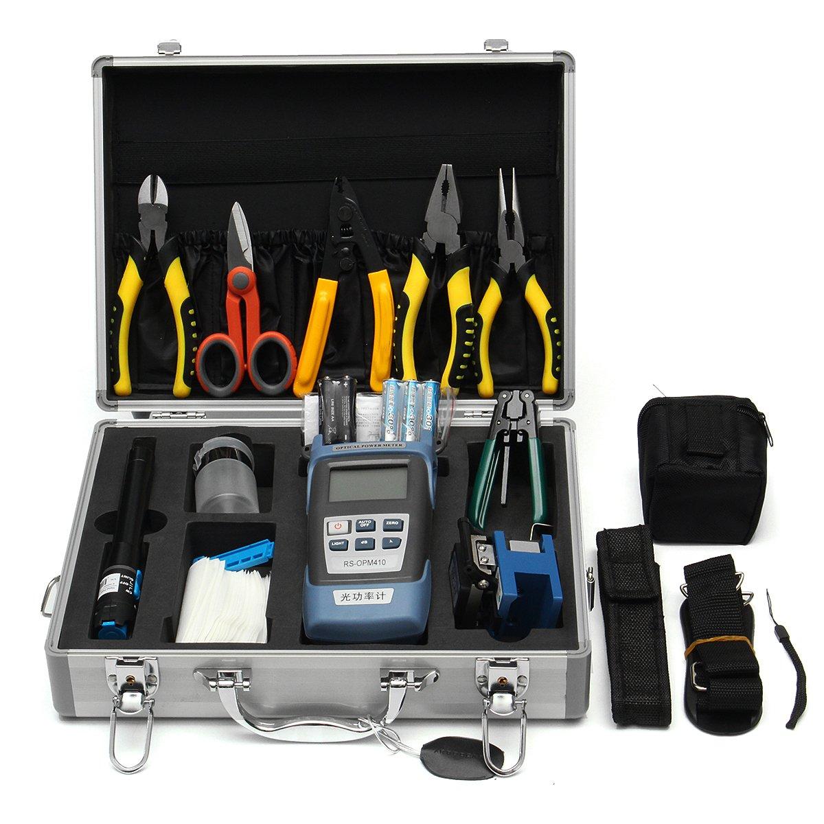 OlogyMart 25PCS Optic Fiber FTTH Tool Kit Fiber Cleaver & FC-6S Optical Power Meter W/Box Repair Tool