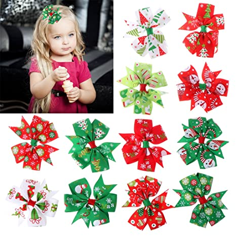 12Pcs Christmas Bowknot Hairpin Hair Bow Clips Barrette For Kids Baby Girls