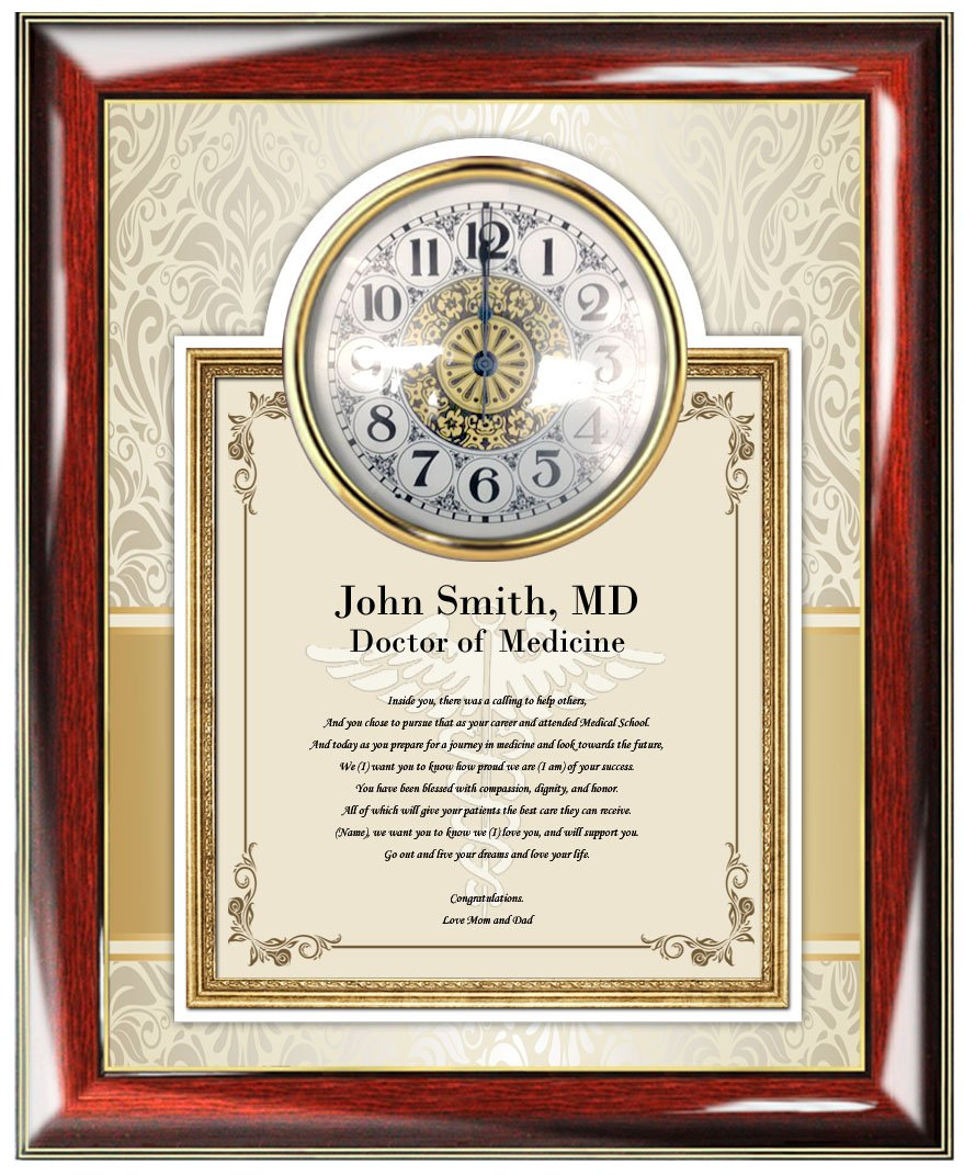 Personalized Poetry Gift for Medical Doctor Physician or Medical School Graduation Gifts for - Custom Poem Wall Clock Frame for University College Medical School Graduates