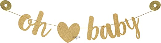 Oh Baby Banner  Gold Oh Baby Shower  Oh Baby Shower Twinkle Twinkle Baby Shower  Baby Shower Banner