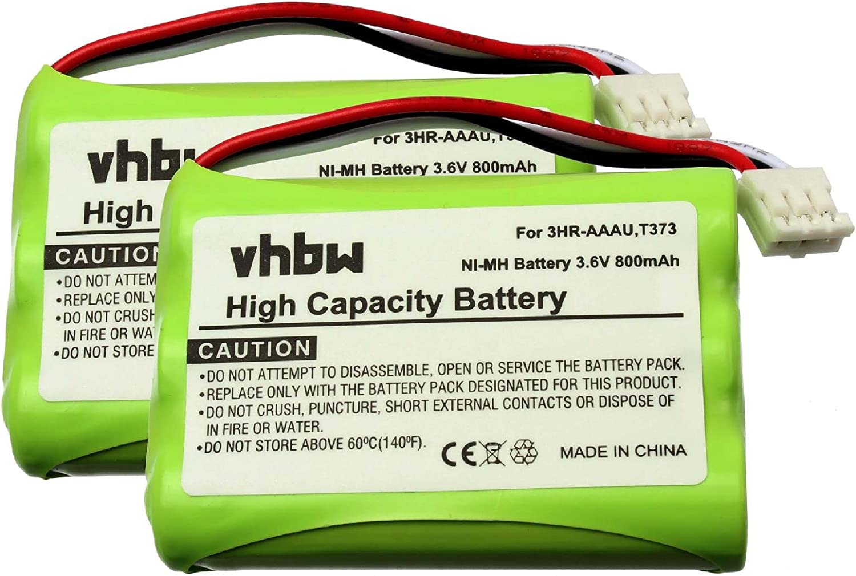 vhbw NI-MH BATTERY suitable for Bang /& Olufsen BeoCom 6000 replacing 3HR-AAAU T373 700mAh 3.6V