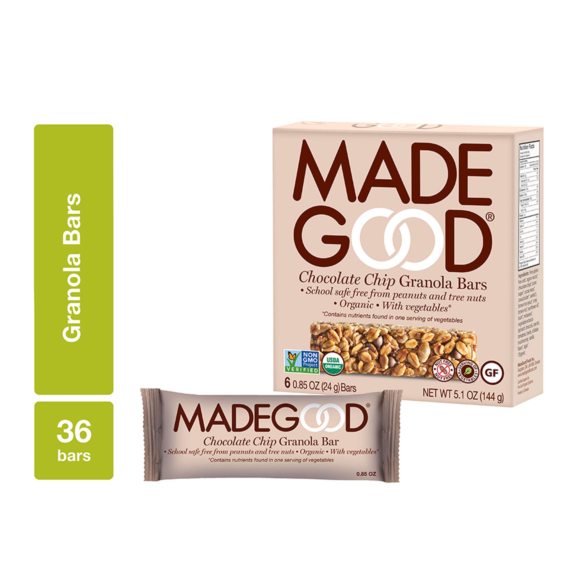 MadeGood Chocolate Chip Granola Bars, 6 Pack (36 bars); Gluten-Free Oats and Delicious Chocolate Chips; Contains Nutrients of 1 Serving of Vegetables; Allergy-Friendly, Full of Chewy, Tasty Goodness