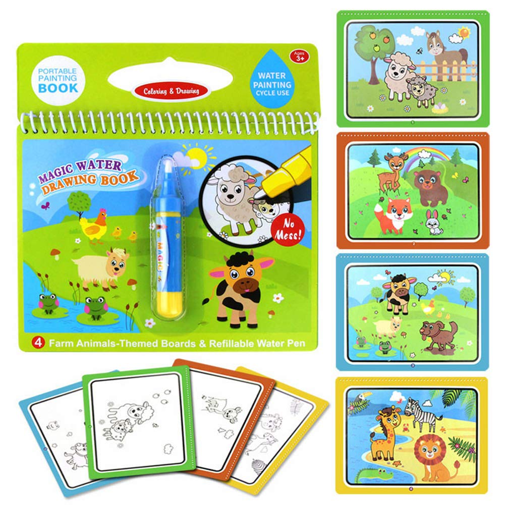 Faironly Magic Water Drawing Book Coloring Book Doodle /& Magic Pen Painting Drawing Board for Kids Farm