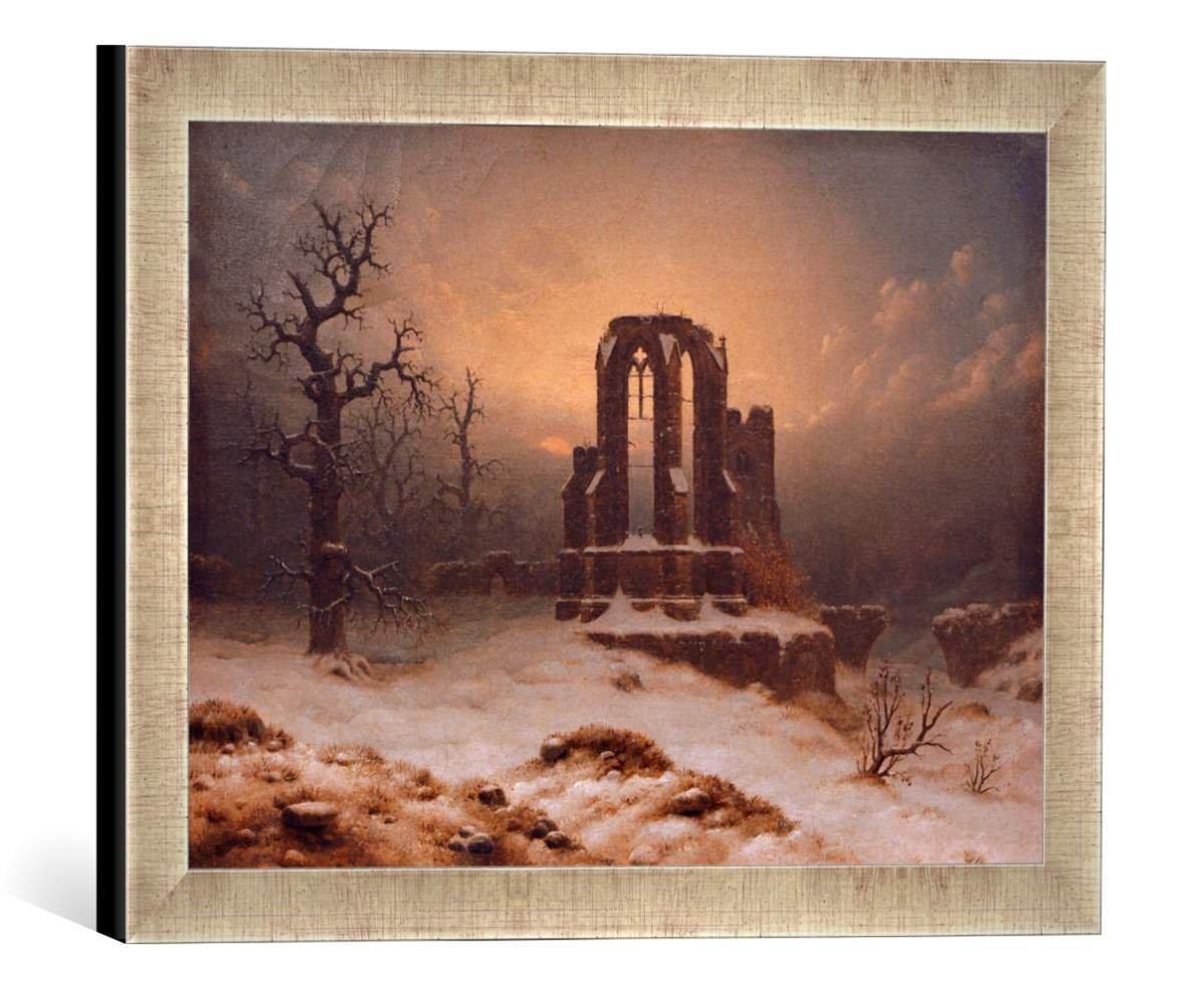 Gerahmtes Bild von Carl Georg Adolph Hasenpflug Kirchenruine im Schnee, Kunstdruck im hochwertigen handgefertigten Bilder-Rahmen, 40x30 cm, Silber Raya