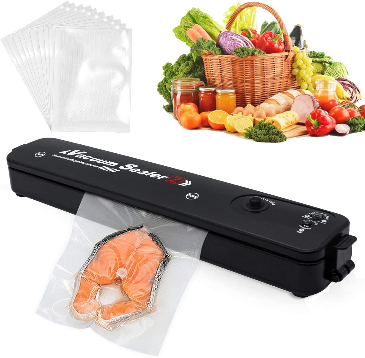 Food Saver Vacuum Sealer Machine, Vacuum Sealer Machine with 10 Sealing Bags, One-Touch Automatic Vacuum Sealing Machine for Dry And Moist Food Fresh Preservation with Led Indicator Lights