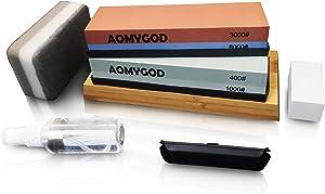 Professional knife Sharpening Stone Kit Whetstone Sharpener set for Kitchen Garden 4 Grit 400/1000 3000/8000 With Nonslip Bamboo Base Flatting Stone Angle Guide