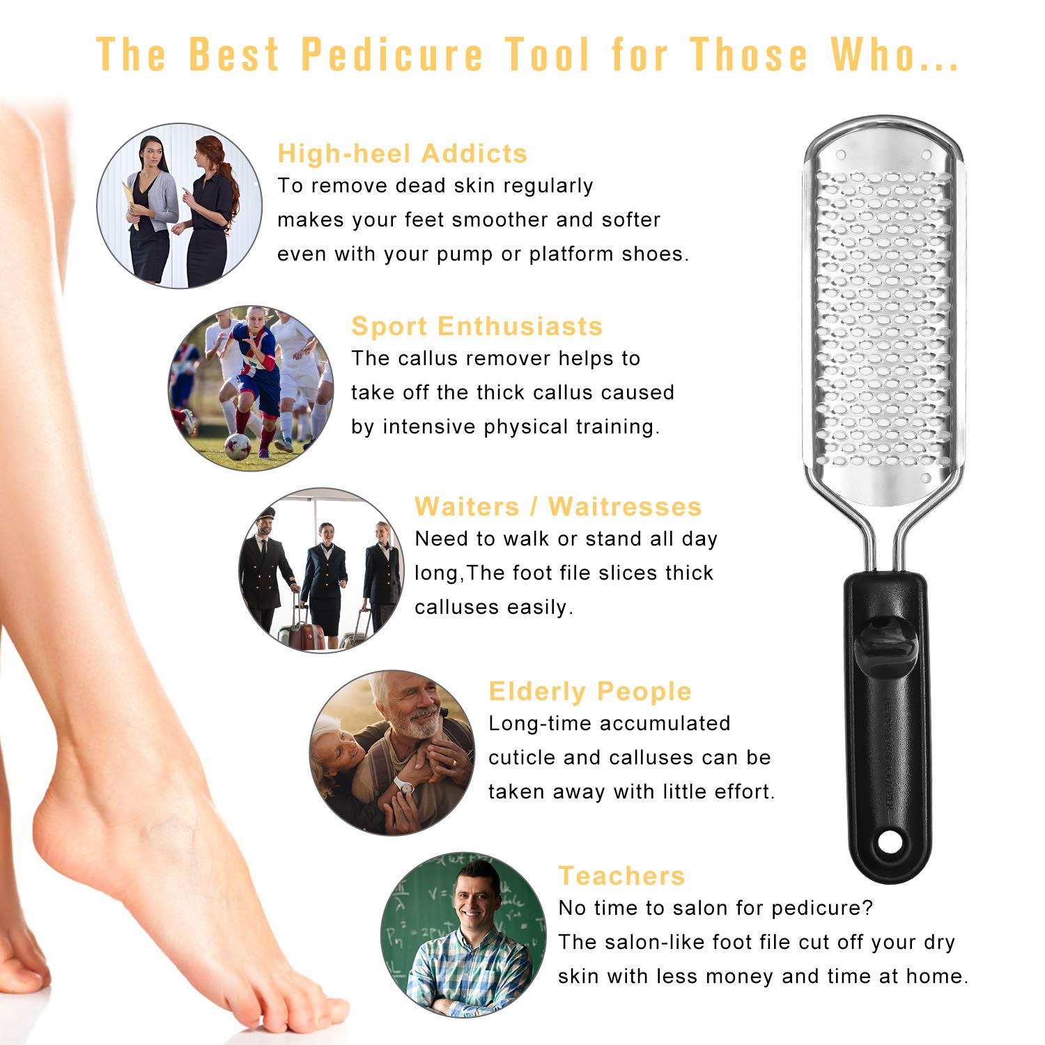 WAAO Colossal Pedicure Rasp Foot File, Callus Remover, Best Foot Care  Pedicure Metal Surface Tool To