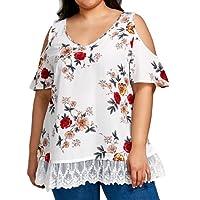 Ropa Camisetas Mujer, Camisas Mujer Verano Elegantes Casual Tallas Grandes Estampado Floral Camisetas Mujer Manga