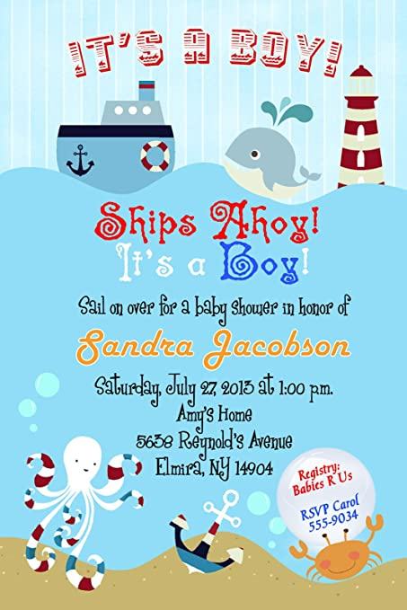 Cmsprints Sailboat Nautical Baby Shower Invitations