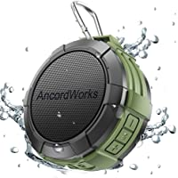 Bluetooth Shower Speaker by AncordWorks, 5W Driver 23 Hours Playtime, with 8G TF Card/Card Reader/Suction Cup/Clip Carabiner/DC Charger (Army Green)