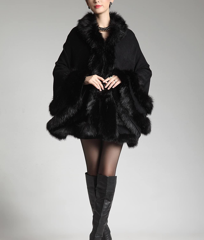 PENER Womens Faux Fox Fur Trim Hooded Cape Wool Blend Cloak