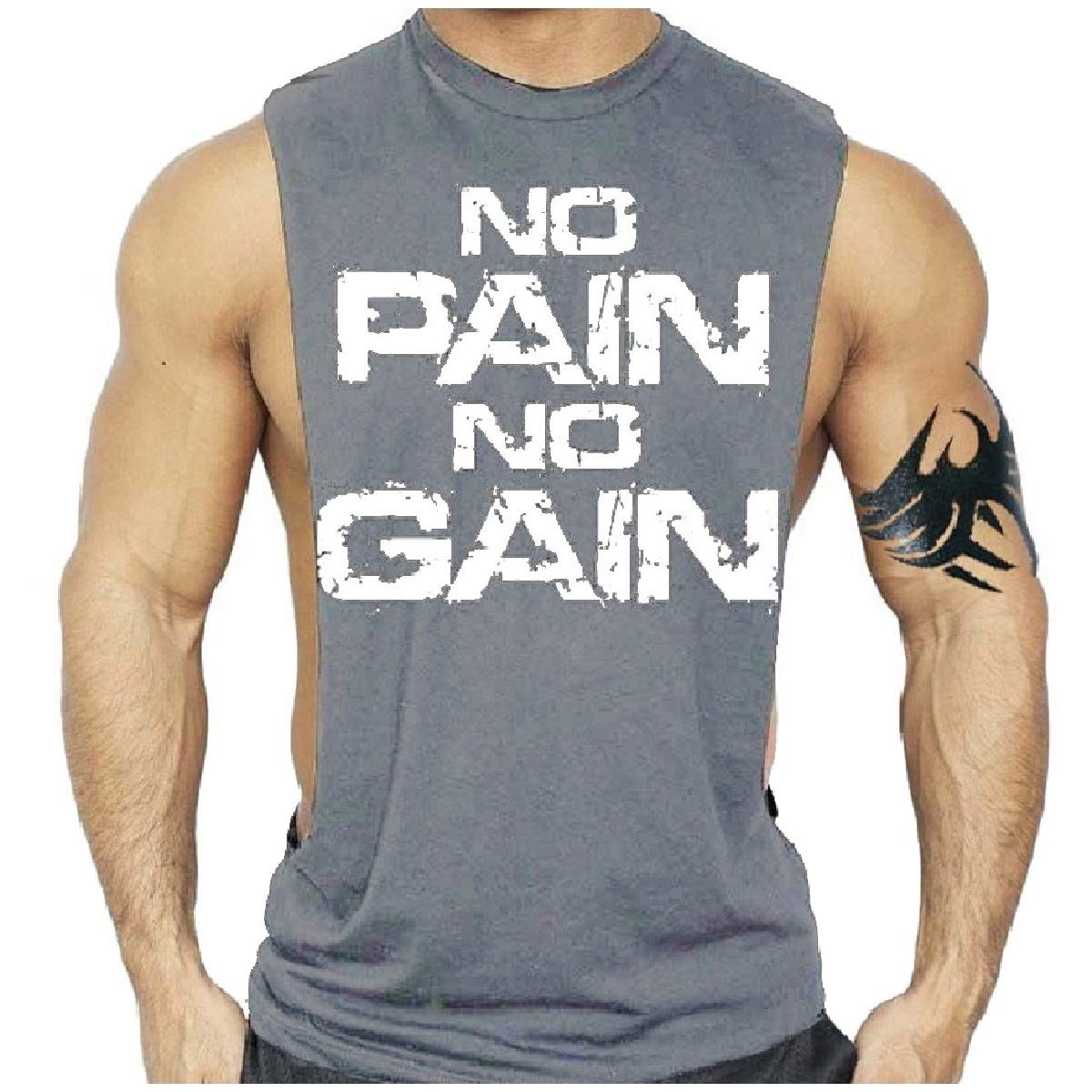 Coolhere Mens Basic Cotton Active No Pain no gain Tank Top Muscle Shirt